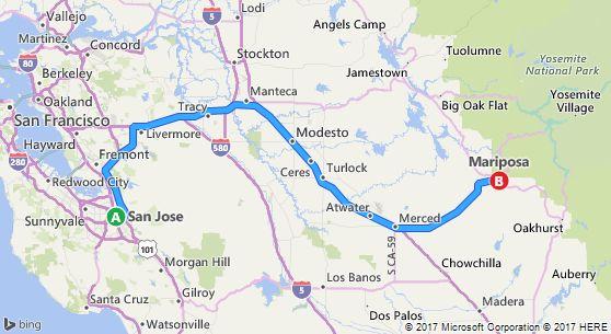 表示されているルートは通行止めの為 無理であることが分かり ギルロイへ南下したあとマリポサへ行くことにしました