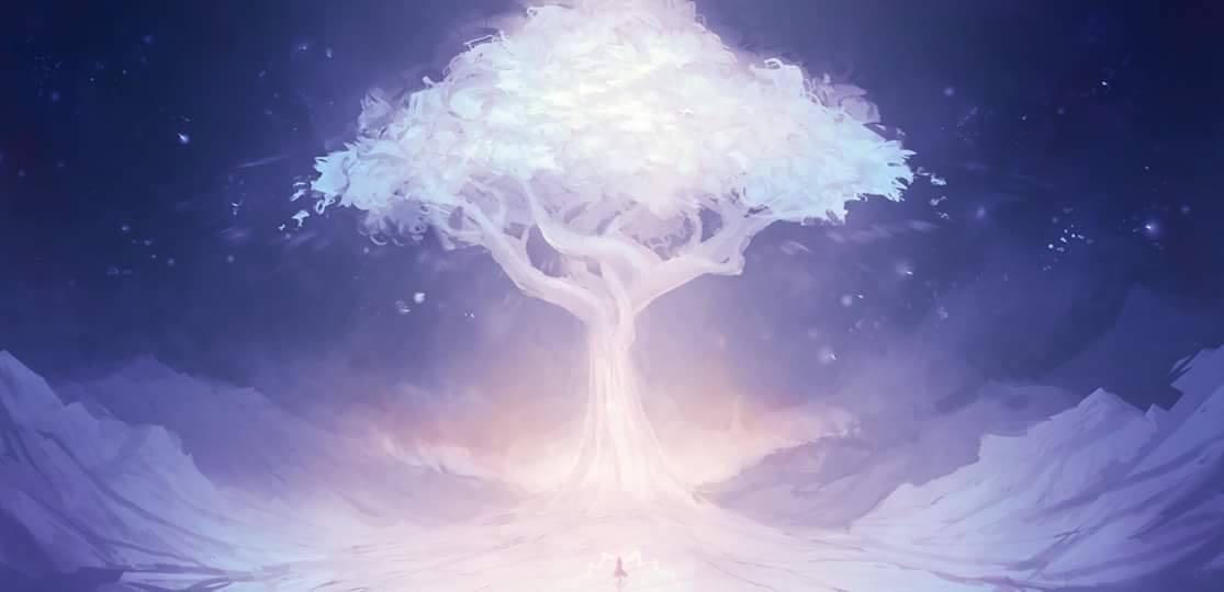 アリアンロッドが住む小さな森の白色の木